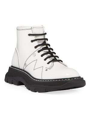 Alexander McQueen Tread Patent Leather Lace-Up Combat Boots