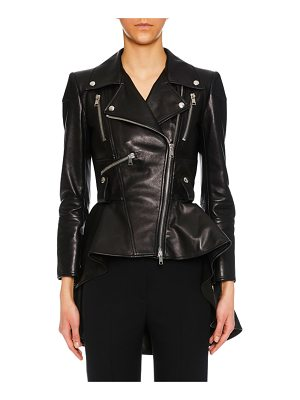 Alexander McQueen Zip-Front Peplum Leather Moto Jacket