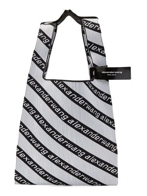 Alexander Wang black and white jacquard diagonal logo shopper tote