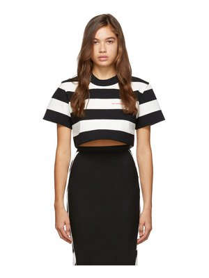 Alexander Wang black and white striped chynatown cropped t-shirt