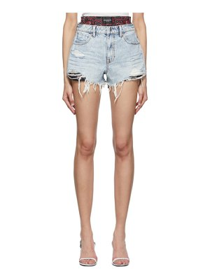 Alexander Wang blue denim and silk bite mix shorts