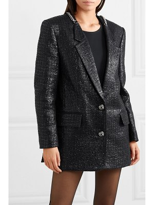 Alexander Wang chain-trimmed coated cotton-blend tweed blazer