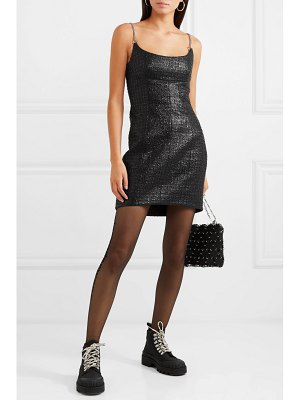 Alexander Wang chain-trimmed coated cotton-blend tweed mini dress