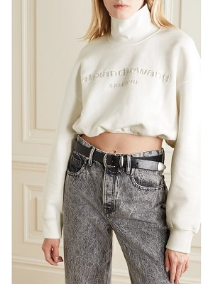 Alexander Wang cropped embroidered cotton-jersey turtleneck sweatshirt