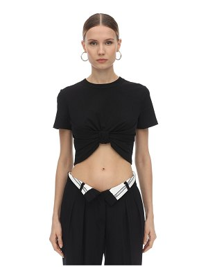 Alexander Wang Cropped knot cotton jersey top