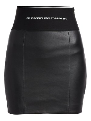 Alexander Wang elastic logo stretch leather skirt