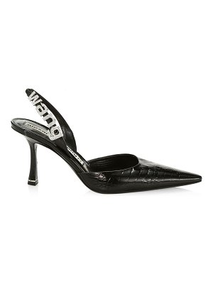 Alexander Wang grace embellished croc-embossed leather slingback pumps