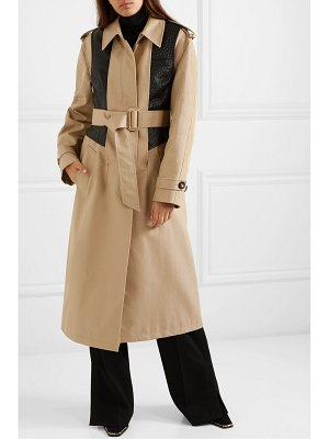 Alexander Wang layered cotton-blend gabardine and ostrich-effect leather trench coat