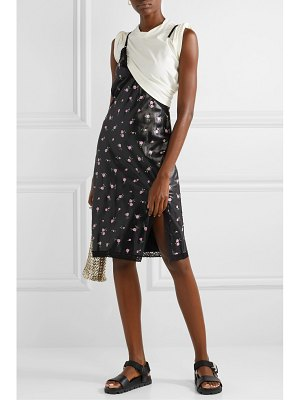 Alexander Wang layered lace-trimmed satin and cotton-blend jersey dress