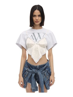 Alexander Wang Logo jersey t-shirt w/ satin panel