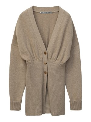 Alexander Wang oversized ribbed hem wool & cashmere blend cardigan