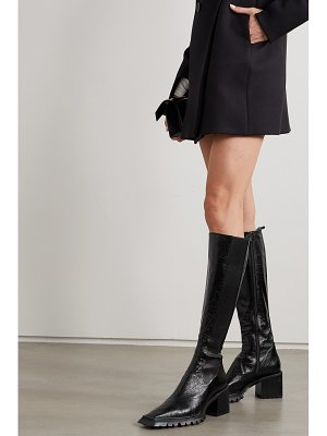 Alexander Wang parker lug glossed textured-leather knee boots