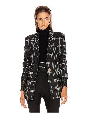 Alexander Wang peaked lapel blazer with leather sleeves