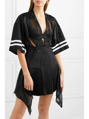 Alexander Wang striped cutout pleated mesh and georgette mini dress