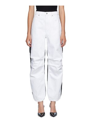 Alexander Wang white and black denim hybrid cargo jeans