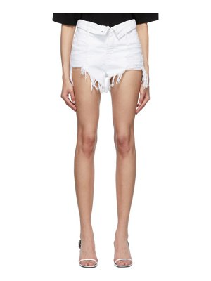 Alexander Wang white denim bite flip shorts
