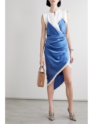 Alexander Wang wrap-effect layered lace-trimmed silk-satin and cotton-jersey dress