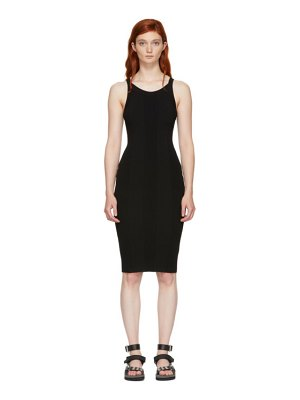alexanderwang.t black stretch rib knit visible strap dress