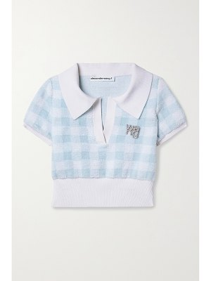 alexanderwang.t cropped crystal-embellished gingham cotton-blend terry top