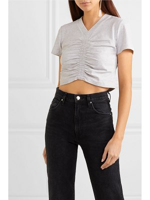alexanderwang.t cropped ruched cotton-jersey t-shirt