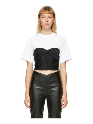 alexanderwang.t white and black ruched bodycon hybrid t-shirt