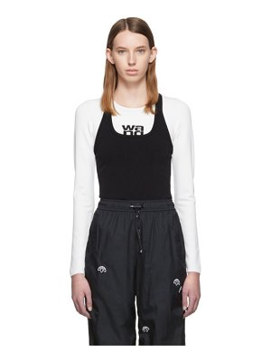 alexanderwang.t white and black sport layering logo long sleeve t-shirt