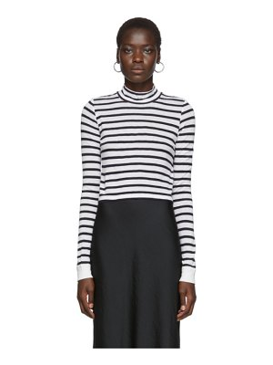 alexanderwang.t white and navy striped mock neck t-shirt