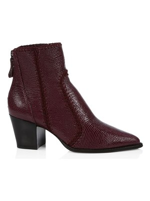 Alexandre Birman benta embroidered lizard-embossed leather ankle boots