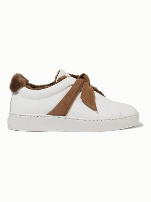 Alexandre Birman clarita bow-embellished faux shearling-lined leather slip-on sneakers