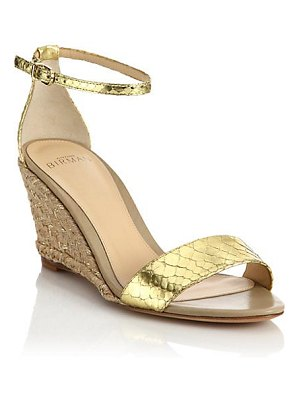 Alexandre Birman metallic python espadrille wedge sandals