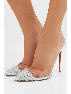 Alexandre Vauthier amber ghost crystal-embellished leather and pvc slingback pumps