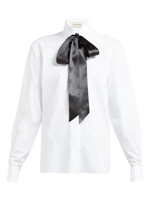 Alexandre Vauthier bow and crystal trimmed cotton poplin shirt