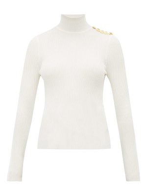 Alexandre Vauthier buttoned high neck wool blend sweater