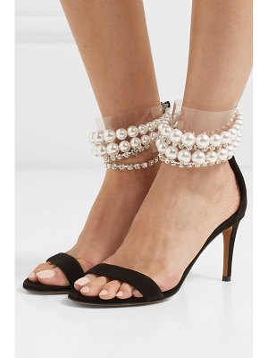 Alexandre Vauthier coco faux pearl and crystal-embellished pvc and suede sandals