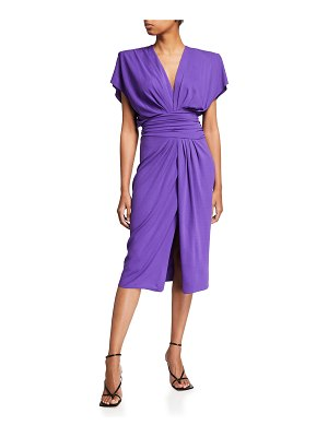 Alexandre Vauthier Draped Padded-Shoulder Midi Dress