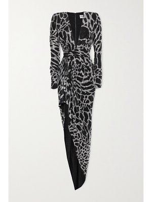 Alexandre Vauthier gathered crystal-embellished stretch-jersey gown