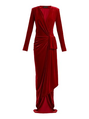 Alexandre Vauthier Gathered velvet wrap dress