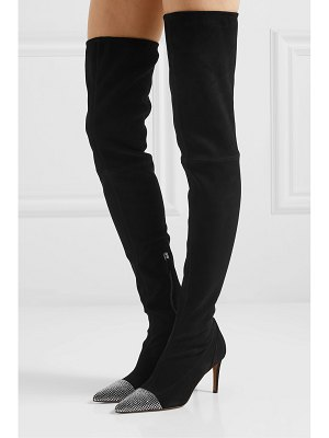 Alexandre Vauthier helena crystal-embellished suede thigh boots