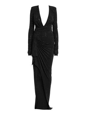 Alexandre Vauthier long sleeve stretch jersey embroidered gown