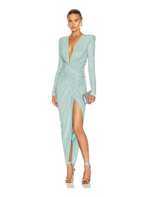 Alexandre Vauthier microcrystal plunging maxi dress