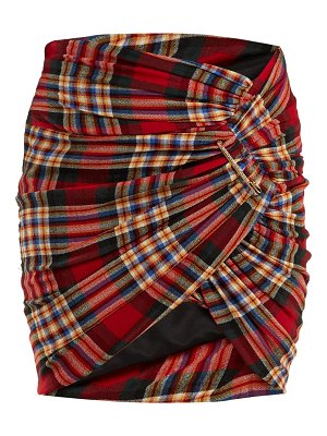 Alexandre Vauthier Safety-pin gathered tartan mini skirt
