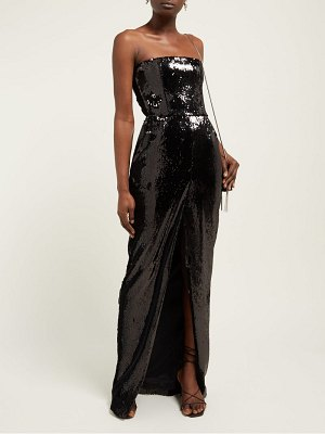 Alexandre Vauthier strapless front slit sequinned gown