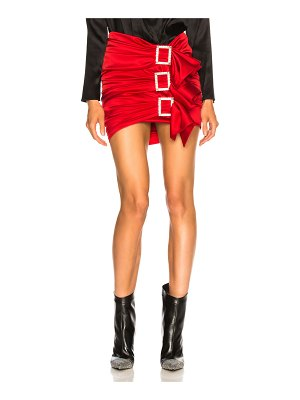 Alexandre Vauthier Stretch Satin Buckle Mini Skirt