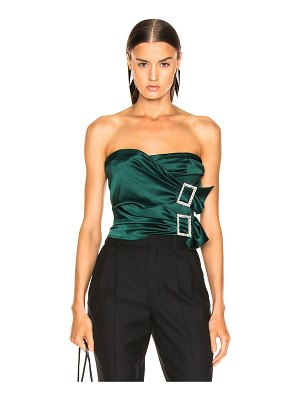 Alexandre Vauthier Stretch Satin Buckle Strapless Top