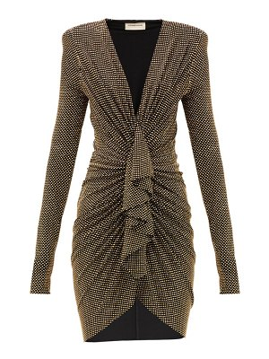 Alexandre Vauthier studded ruched plunge-neck jersey mini dress