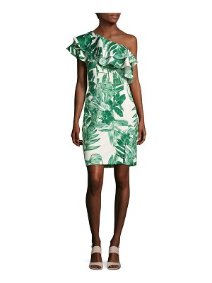 Alexia Admor Foliage-Printed Asymmetric-Neck Dress