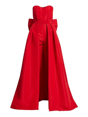 Alexia Maria silk faille bow-back jumpsuit with convertible skirt