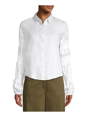 Alexis Andriel Ruched-Sleeve Button-Down Top