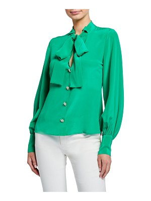 Alexis Aruca Tie-Neck Button-Down Top