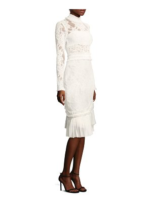 ALEXIS BARBARA Anabella Ruched Lace Midi Dress